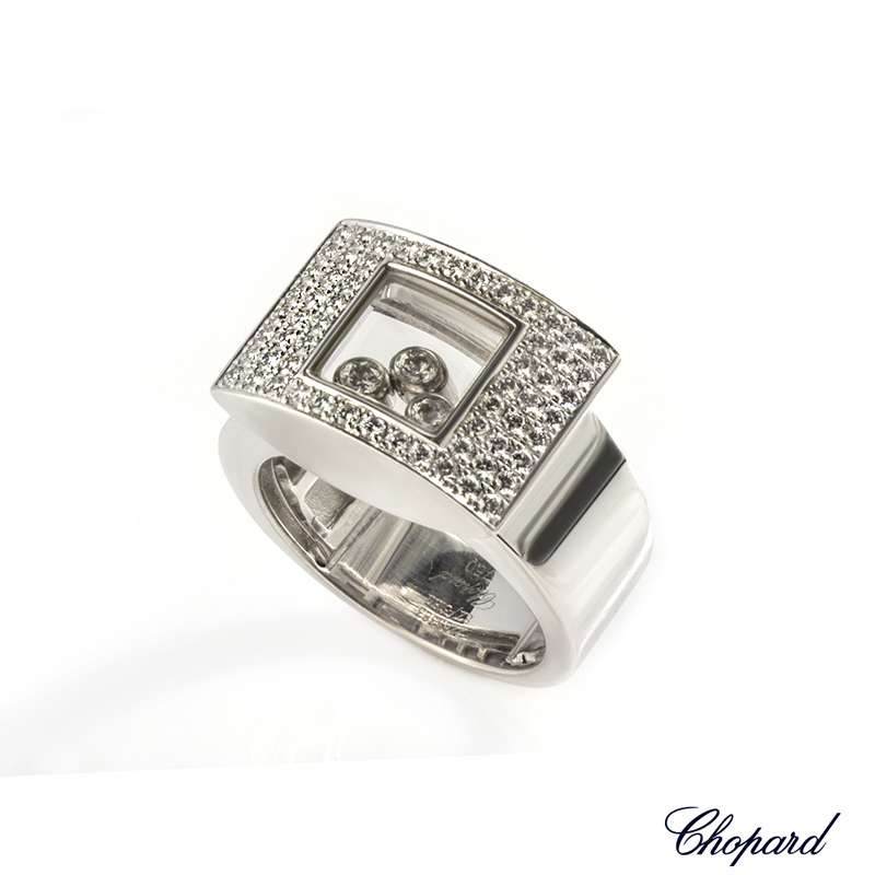Chopard 18k White Gold Happy Curves Ring 82/3180